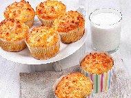 Солени мъфини с овесени ядки, сирене, кашкавал и кисело мляко без брашно